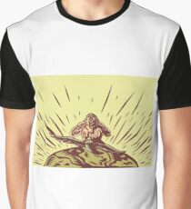 Tagaloa Releasing Bird Plover Earth Woodcut Graphic T-Shirt