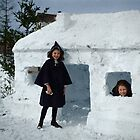 Two Girls and their snow fort, 1910 by Mads Madsen