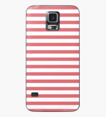 Nautical Coral Red and White Horizontal Stripe Case/Skin for Samsung Galaxy