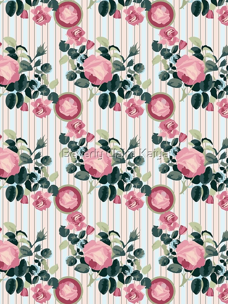 Pink Roses Illustration Blue Green Leaves Peach Stripes by beverlyclaire