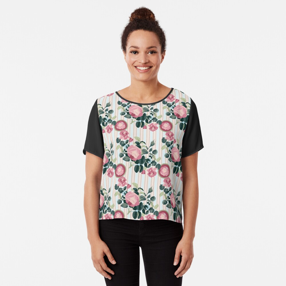 Pink Roses Illustration Blue Green Leaves Peach Stripes Chiffon Top