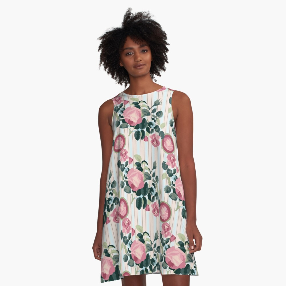 Pink Roses Illustration Blue Green Leaves Peach Stripes A-Line Dress Front
