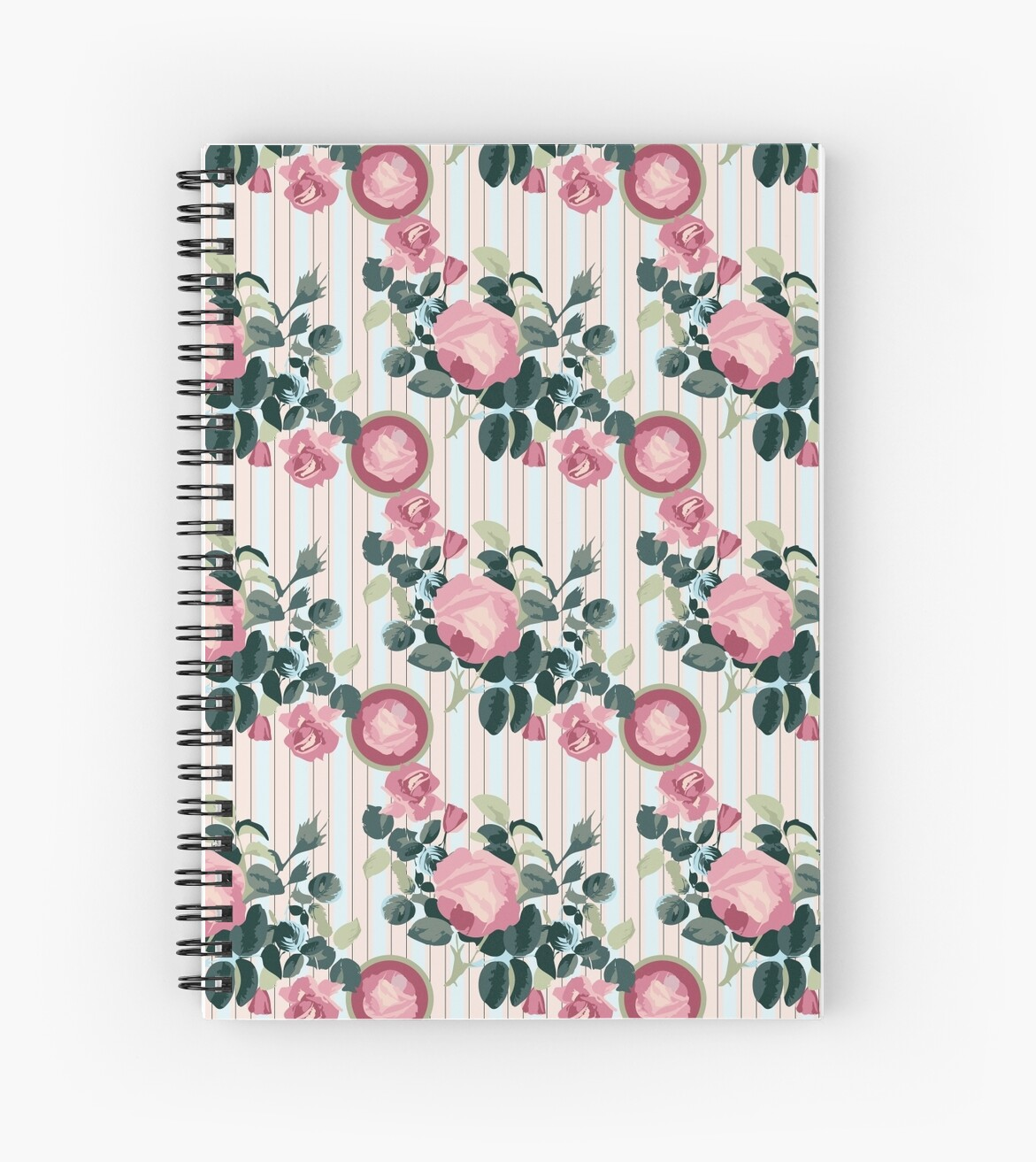 Pink Roses Illustration Blue Green Leaves Peach Stripes by Beverly Claire Kaiya