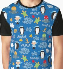 Whimsical Ocean Penguins Sailors Sea Turtles Nautical Graphic T-Shirt