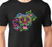 Smiling Pit Bull in Blue - Day of the Dead Happy Pitbull - Sugar Skull Dog Unisex T-Shirt