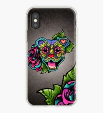 Smiling Pit Bull in Blue - Day of the Dead Happy Pitbull - Sugar Skull Dog iPhone Case
