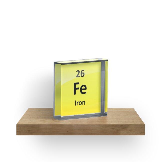 Iron Element Symbol Periodic Table Acrylic Blocks By Sciencenotes