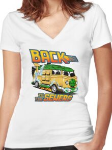 Back to the Sewers Women's Fitted V-Neck T-Shirt