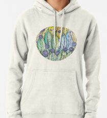 Dandelions.Hand draw  ink and pen, Watercolor, on textured paper Pullover Hoodie