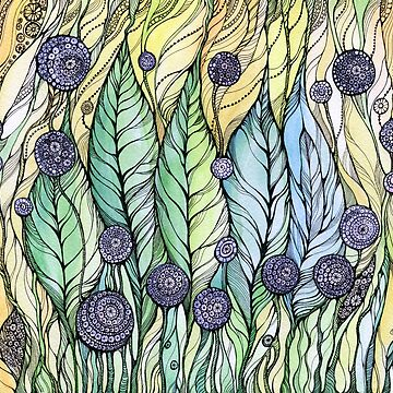 Dandelions.Hand draw  ink and pen, Watercolor, on textured paper by kanvisstyle