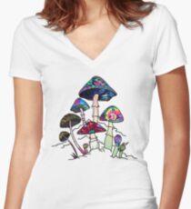 Garden of Shroomz Women's Fitted V-Neck T-Shirt