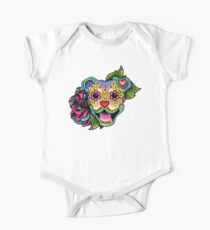Smiling Pit Bull in Fawn - Day of the Dead Happy Pitbull - Sugar Skull Dog Kids Clothes
