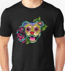 Smiling Pit Bull in Fawn - Day of the Dead Happy Pitbull - Sugar Skull Dog Unisex T-Shirt