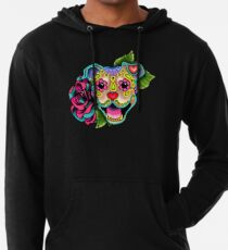 Smiling Pit Bull in Fawn - Day of the Dead Happy Pitbull - Sugar Skull Dog Lightweight Hoodie