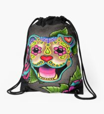Smiling Pit Bull in Fawn - Day of the Dead Happy Pitbull - Sugar Skull Dog Drawstring Bag