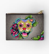 Smiling Pit Bull in Fawn - Day of the Dead Happy Pitbull - Sugar Skull Dog Studio Pouch