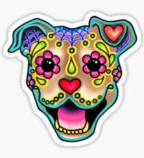 Smiling Pit Bull in Fawn - Day of the Dead Happy Pitbull - Sugar Skull Dog Sticker