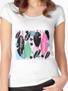 feather  T-shirt femme moulant à col profond