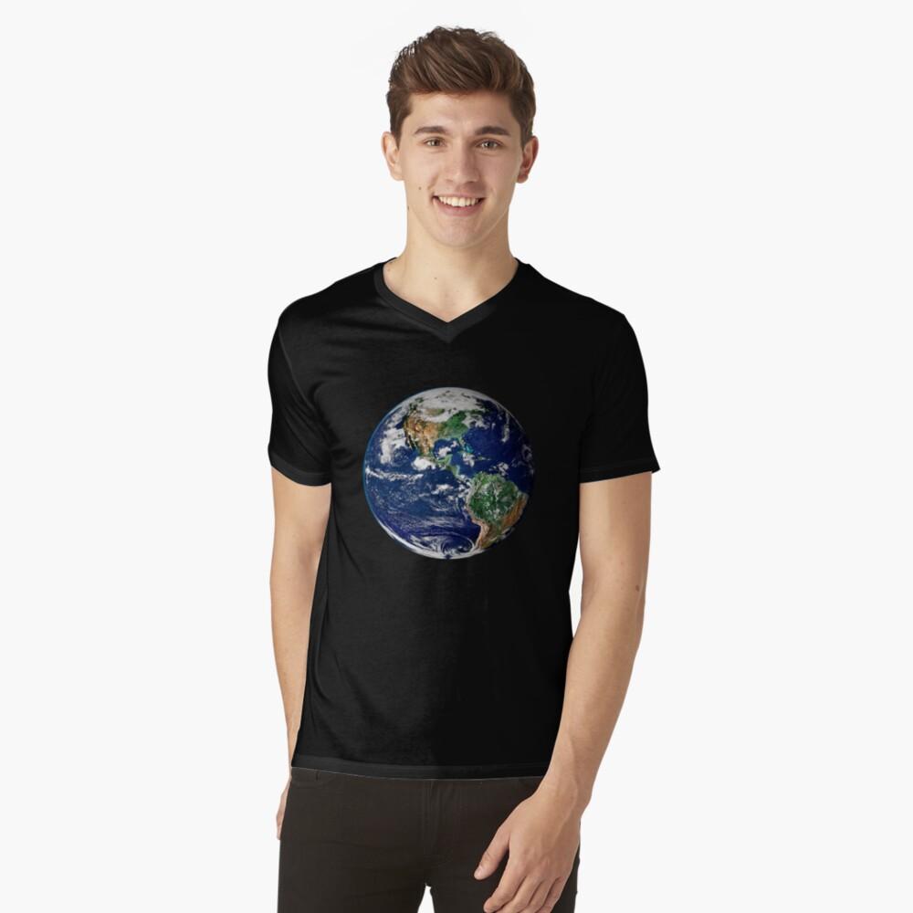 Erde aus dem Weltraum T-Shirt mit V-Ausschnitt