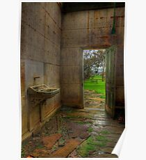 View From a Dilapidated Bathroom out to a Farm Poster