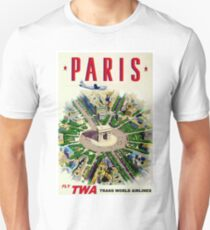 """""""TWA AIRLINES"""" Fly to Paris Advertising Print T-Shirt"""