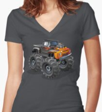 Cartoon monster truck Women's Fitted V-Neck T-Shirt