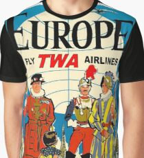 """TWA AIRLINES"" Fly to Europe Advertising Print Graphic T-Shirt"