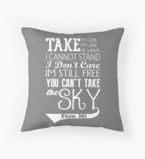 Firefly Theme song quote (white version) Throw Pillow