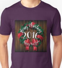 Merry Christmas and Happy New Year 2016 wreath on wood  T-Shirt