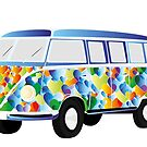 Retro van in colorful heart shape design by schtroumpf2510