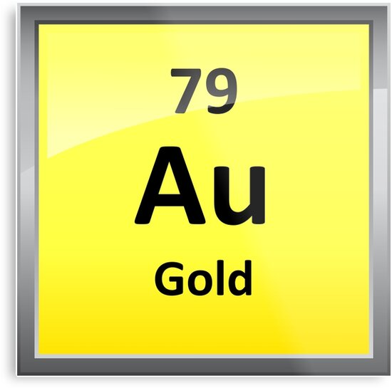 Gold Chemical Element Symbol Periodic Table Metal Prints By