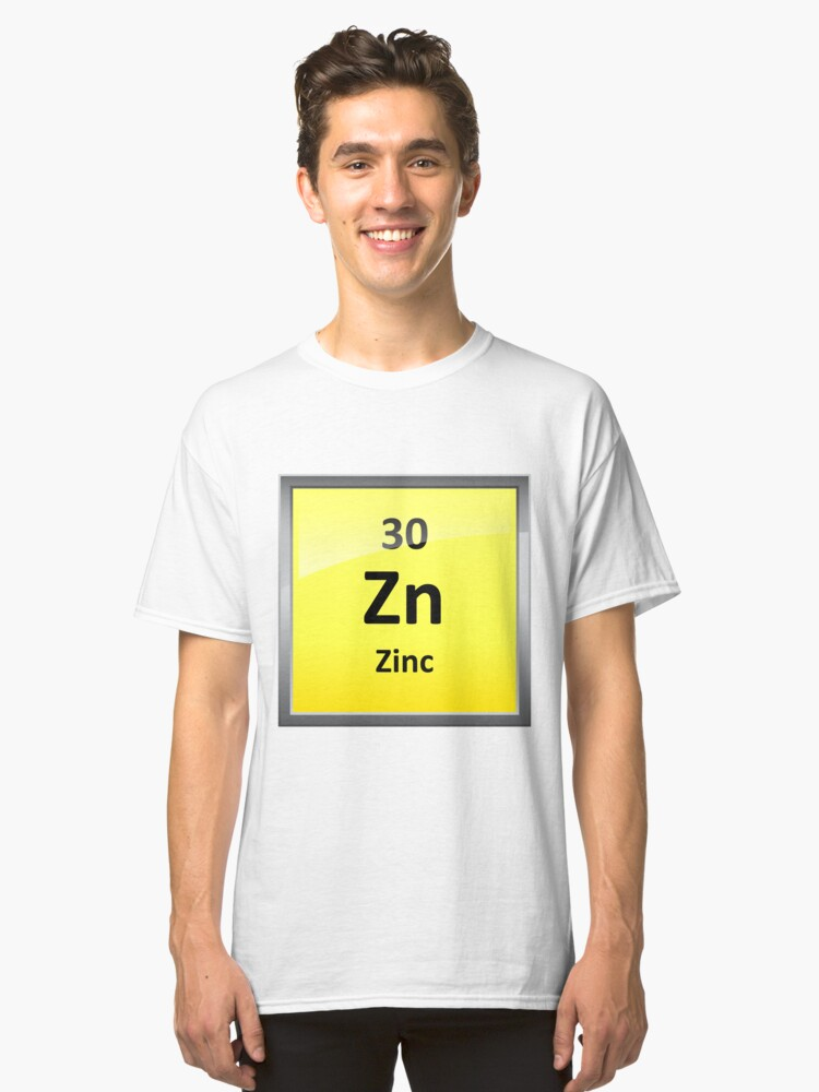 Zinc Element Symbol Periodic Table Unisex T Shirt By Sciencenotes
