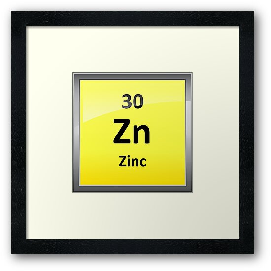 Zinc Element Symbol Periodic Table Framed Prints By Sciencenotes