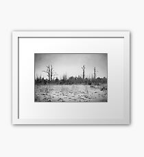 Digital Art Trees and Snow in Black and White Framed Print