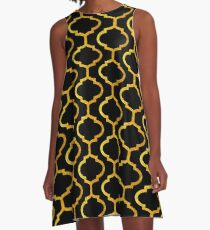 Gold mughal lattice Pattern A-Line Dress