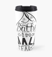 I bathe in male tears. Feminism quote,  inspirational quote . Hand drawing drops. Phrase for t-shirts, posters and wall art. Vector design. Travel Mug
