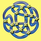 Blue Celtic Knotwork with Yellow Flowers by anankeblue