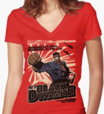 Black Dynamite! Dy-Na-Mite!! Women's Fitted V-Neck T-Shirt