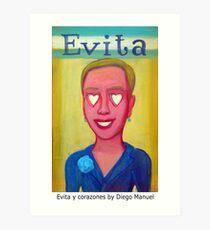 Evita y corazones by Diego Manuel Art Print