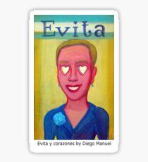 Evita y corazones by Diego Manuel Sticker