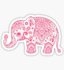 Cute Pink Elephant Vintage Floral Paisley Illustration Sticker