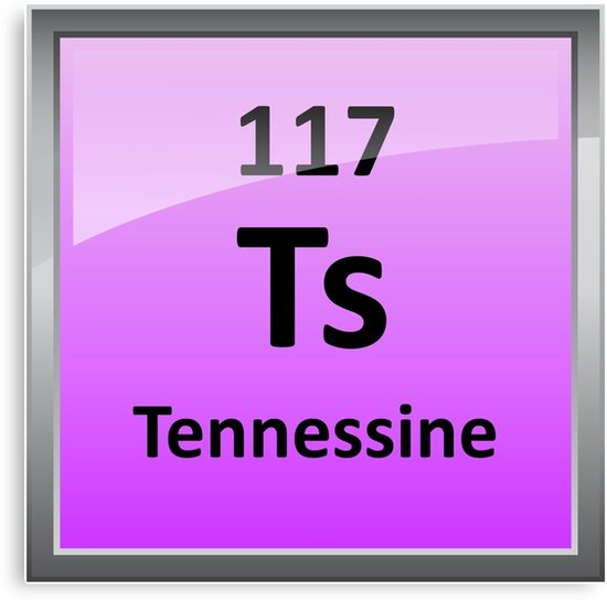 Tennessine Or Element 117 Periodic Table Symbol Canvas Prints By