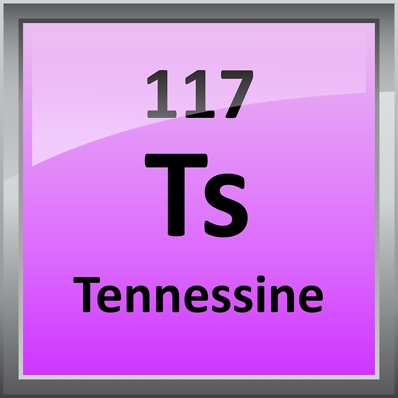 Tennessine or element 117 periodic table symbol stickers for 117 periodic table