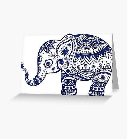 Royal Blue Cute Elephant Tribal Floral Design Greeting Card