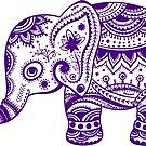 Cute Purple Elephant Ethnic Floral Illustration by artonwear