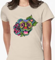 Smiling Pit Bull in Brindle - Day of the Dead Happy Pitbull - Sugar Skull Dog Womens Fitted T-Shirt