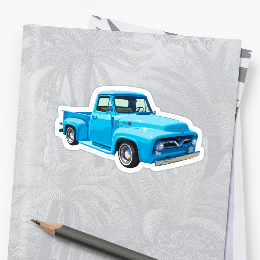 Classic 1955 F100 Ford Pickup Truck Stickers By Kwjphotoart Redbubble
