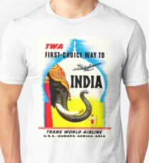 """TWA"" Fly to India Travel Print Unisex T-Shirt"