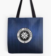 St. John logo on a Blue Box Tote Bag