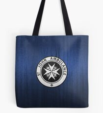 St. John logo on a Blue Box Tote Bag